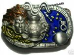 Aquarius the Water Bearer Zodiac Sign Belt Buckle + display stand. Code EB7